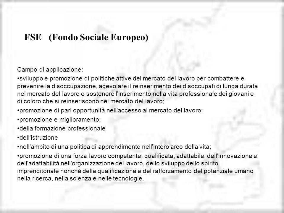 FSE (Fondo Sociale Europeo) Campo di applicazione: sviluppo e promozione di politiche attive del mercato del lavoro per combattere e prevenire la diso