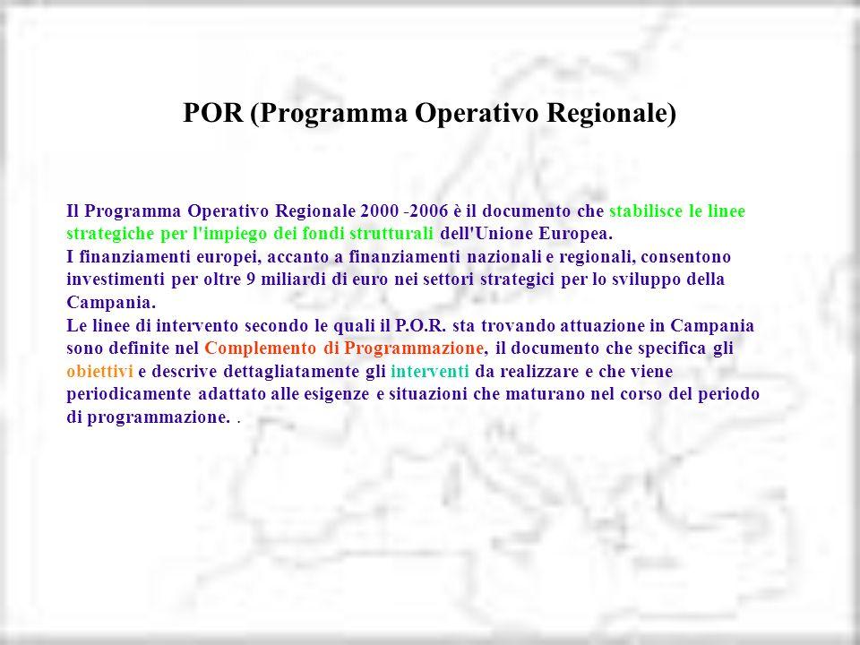 POR (Programma Operativo Regionale) Il Programma Operativo Regionale 2000 -2006 è il documento che stabilisce le linee strategiche per l'impiego dei f