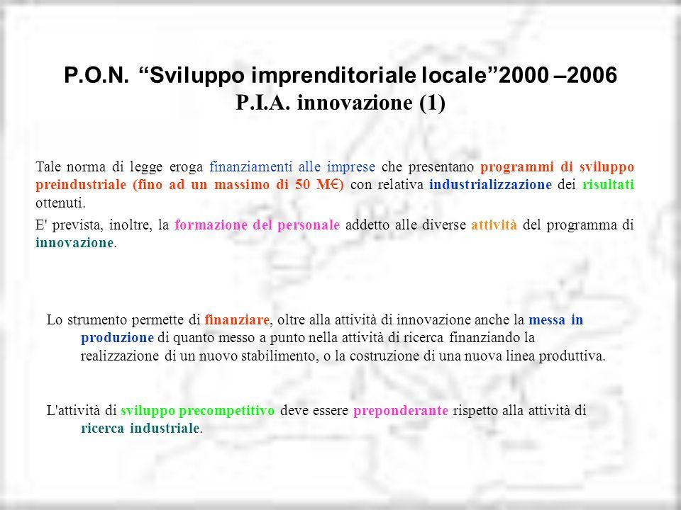 P.O.N. Sviluppo imprenditoriale locale2000 –2006 P.I.A. innovazione (1) Tale norma di legge eroga finanziamenti alle imprese che presentano programmi