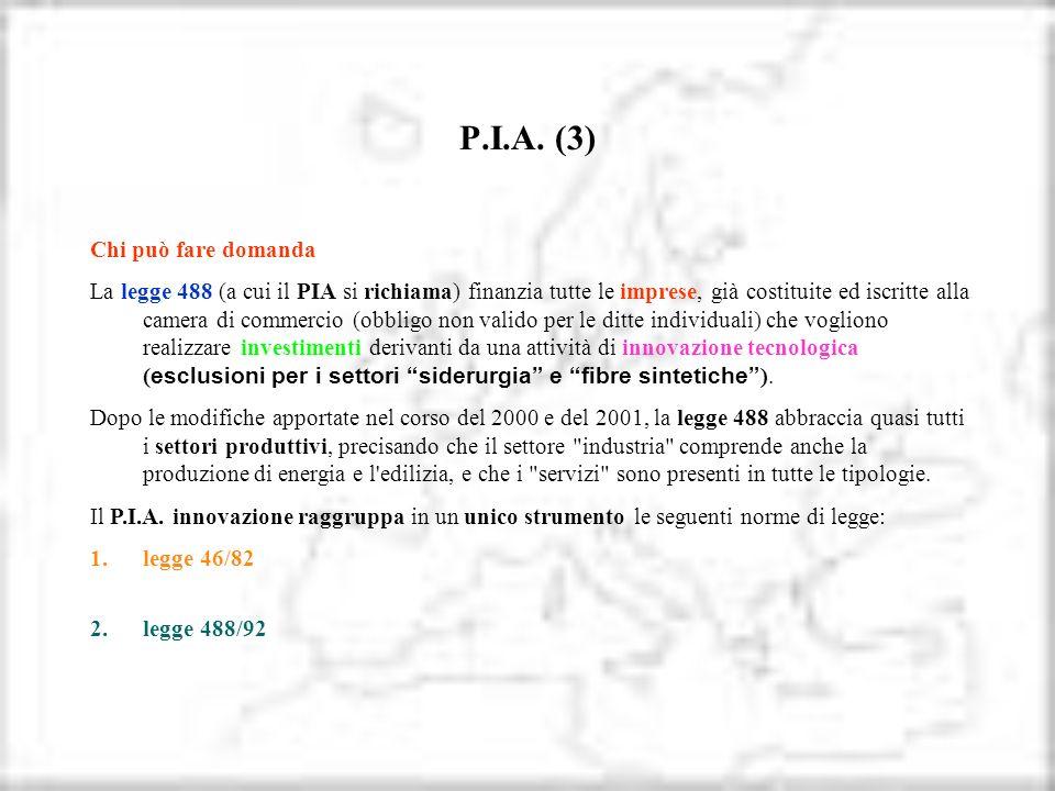 P.I.A. (3) Chi può fare domanda La legge 488 (a cui il PIA si richiama) finanzia tutte le imprese, già costituite ed iscritte alla camera di commercio