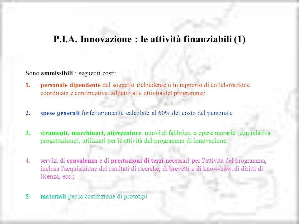 P.I.A. Innovazione : le attività finanziabili (1) Sono ammissibili i seguenti costi: 1.personale dipendente dal soggetto richiedente o in rapporto di