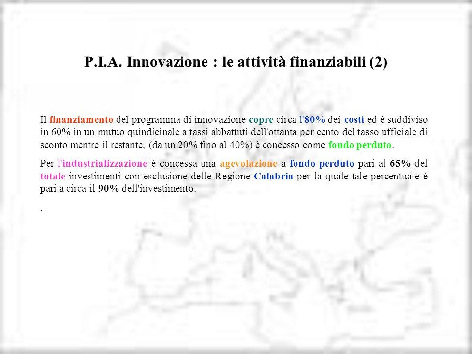 P.I.A. Innovazione : le attività finanziabili (2) Il finanziamento del programma di innovazione copre circa l'80% dei costi ed è suddiviso in 60% in u