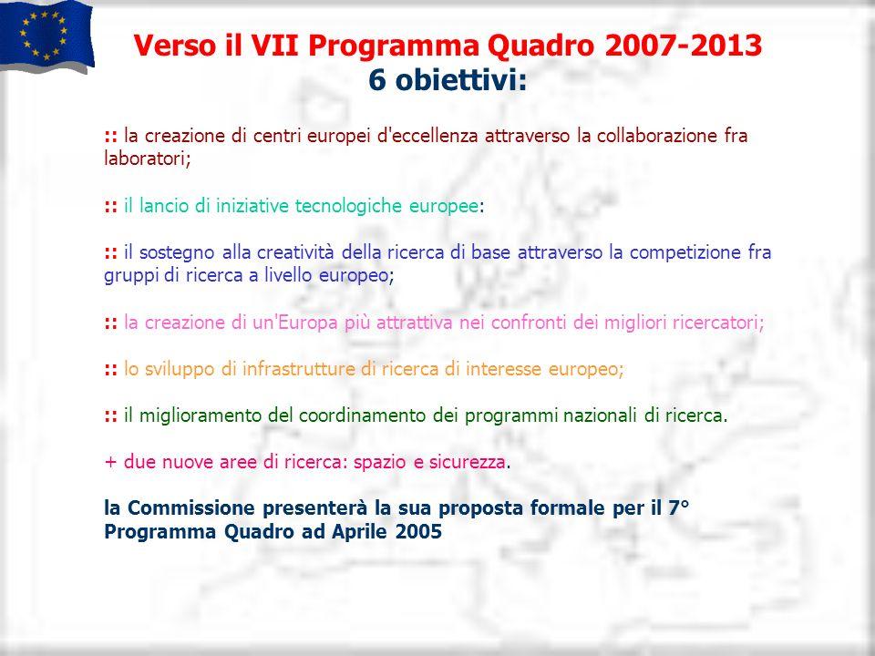 Verso il VII Programma Quadro 2007-2013 6 obiettivi: :: la creazione di centri europei d'eccellenza attraverso la collaborazione fra laboratori; :: il