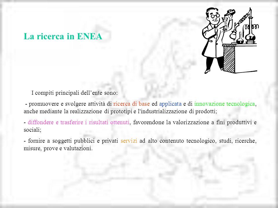 La ricerca in ENEA I compiti principali dellente sono: - promuovere e svolgere attività di ricerca di base ed applicata e di innovazione tecnologica,