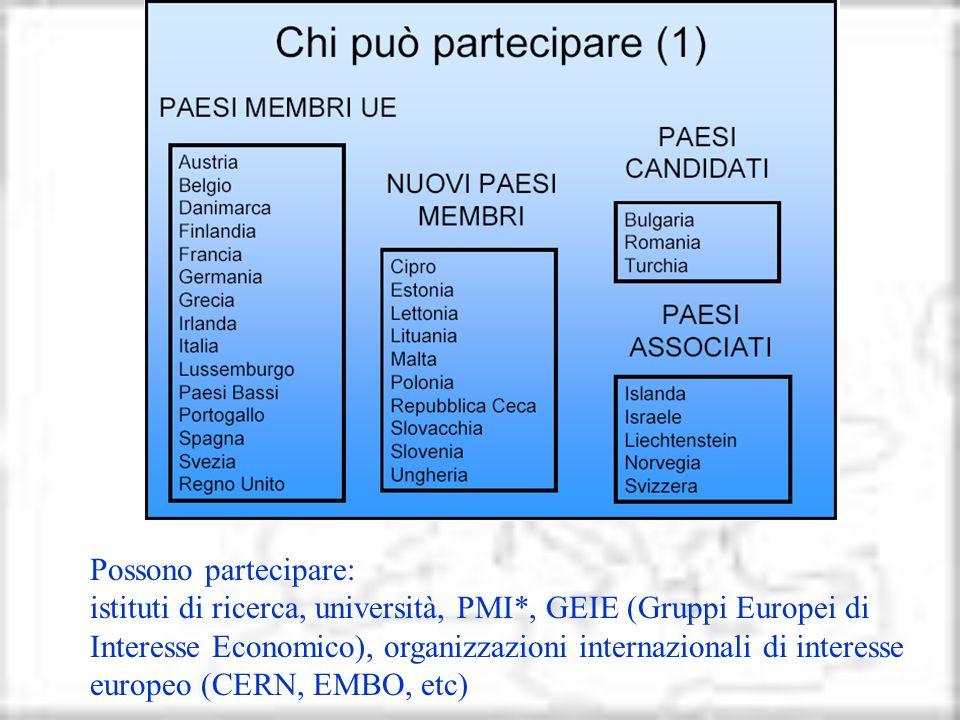 Possono partecipare: istituti di ricerca, università, PMI*, GEIE (Gruppi Europei di Interesse Economico), organizzazioni internazionali di interesse e