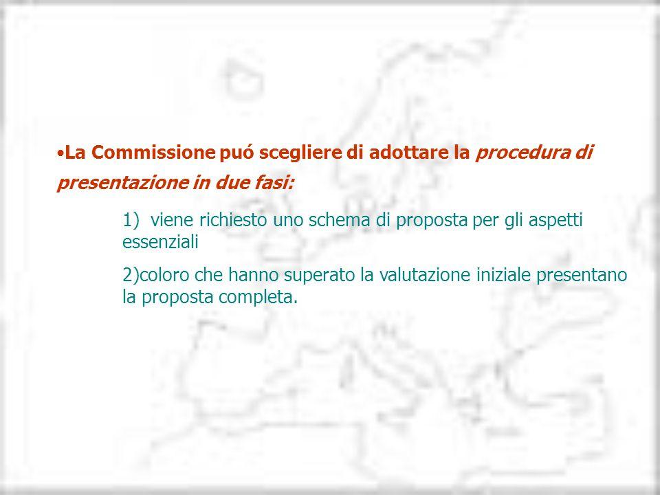 La Commissione puó scegliere di adottare la procedura di presentazione in due fasi: 1) viene richiesto uno schema di proposta per gli aspetti essenzia