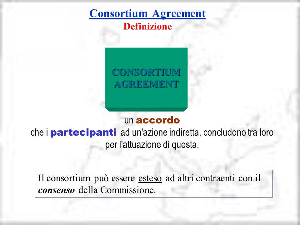Consortium Agreement Consortium Agreement Definizione un accordo che i partecipanti ad un'azione indiretta, concludono tra loro per l'attuazione di qu