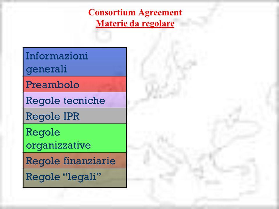 Consortium Agreement Materie da regolare Informazioni generali Preambolo Regole tecniche Regole IPR Regole organizzative Regole finanziarie Regole leg