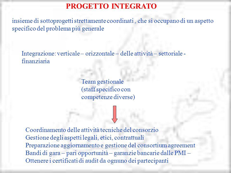Integrazione: verticale – orizzontale – delle attività – settoriale - finanziaria insieme di sottoprogetti strettamente coordinati, che si occupano di
