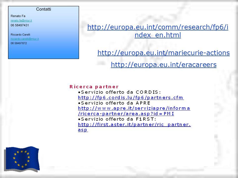 http://europa.eu.int/comm/research/fp6/i ndex_en.html http://europa.eu.int/mariecurie-actions http://europa.eu.int/eracareers