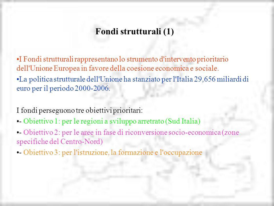 Fondi strutturali (1) I Fondi strutturali rappresentano lo strumento d'intervento prioritario dell'Unione Europea in favore della coesione economica e