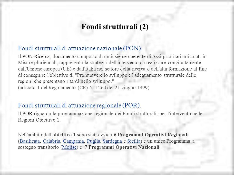 Fondi strutturali (2) Fondi strutturali di attuazione nazionale (PON). Il PON Ricerca, documento composto di un insieme coerente di Assi prioritari ar