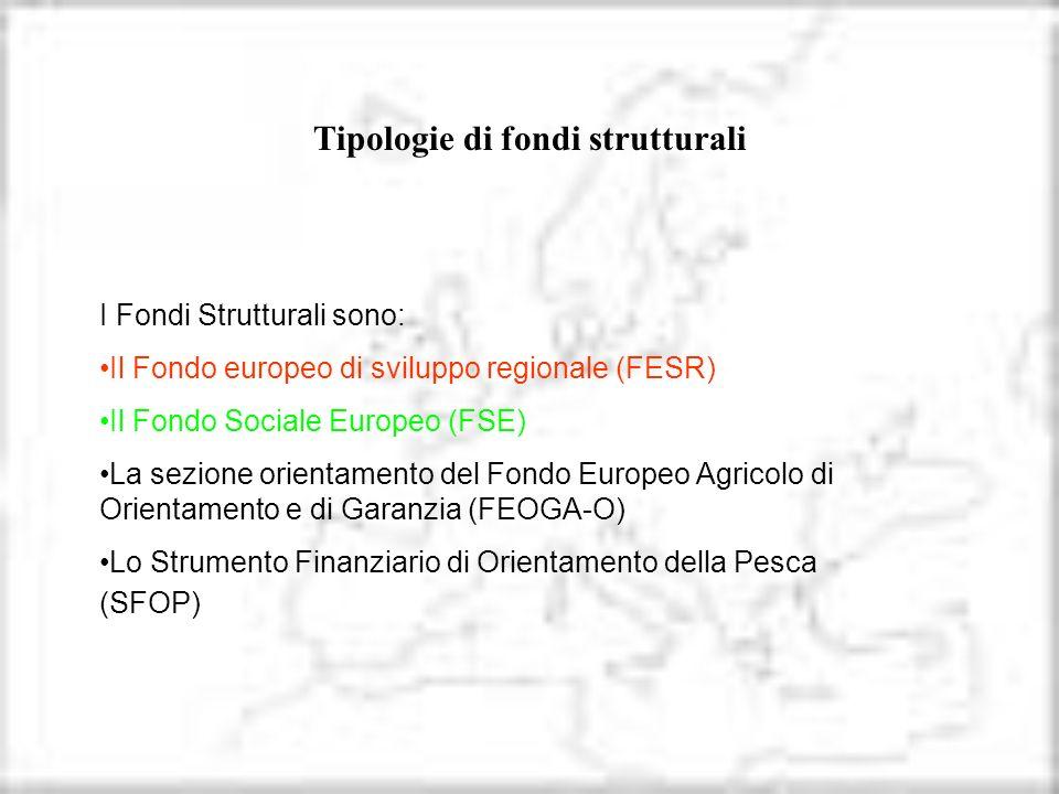 I Fondi Strutturali sono: Il Fondo europeo di sviluppo regionale (FESR) Il Fondo Sociale Europeo (FSE) La sezione orientamento del Fondo Europeo Agric