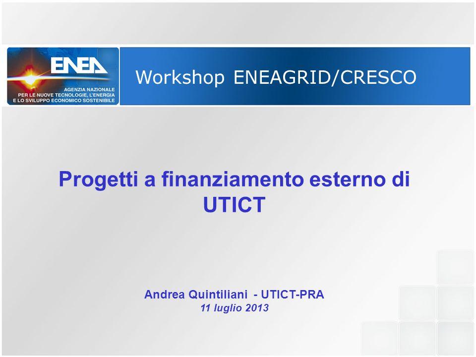 Workshop ENEAGRID/CRESCO Progetti a finanziamento esterno di UTICT Andrea Quintiliani - UTICT-PRA 11 luglio 2013