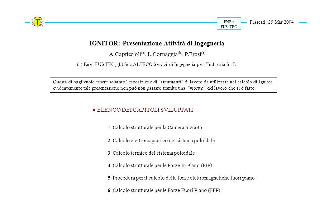 Presentazione ed Elenco Attività ENEA FUS TEC Frascati, 25 Mar 2004 IGNITOR: Presentazione Attività di Ingegneria A.Capriccioli (a), L.Cornaggia (b),