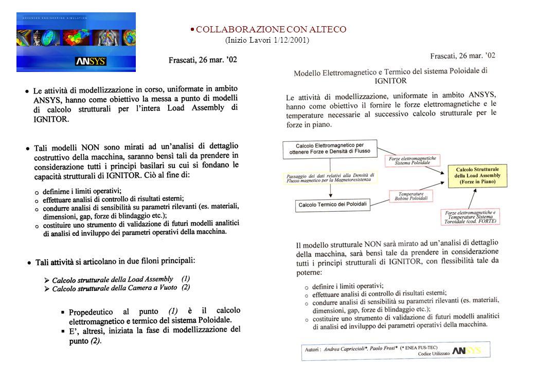 Collaborazione con Alteco COLLABORAZIONE CON ALTECO (Inizio Lavori 1/12/2001)