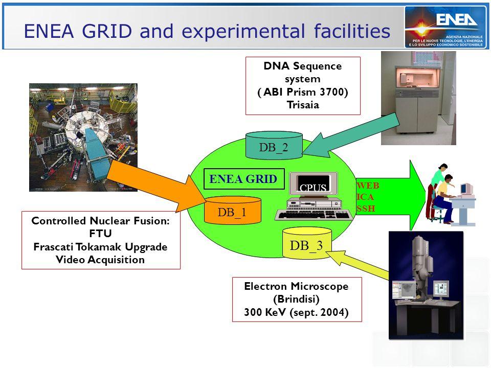 DB_1 CPUS ENEA GRID WEB ICA SSH DNA Sequence system ( ABI Prism 3700) Trisaia DB_3 DB_2 Electron Microscope (Brindisi) 300 KeV (sept. 2004) ENEA GRID