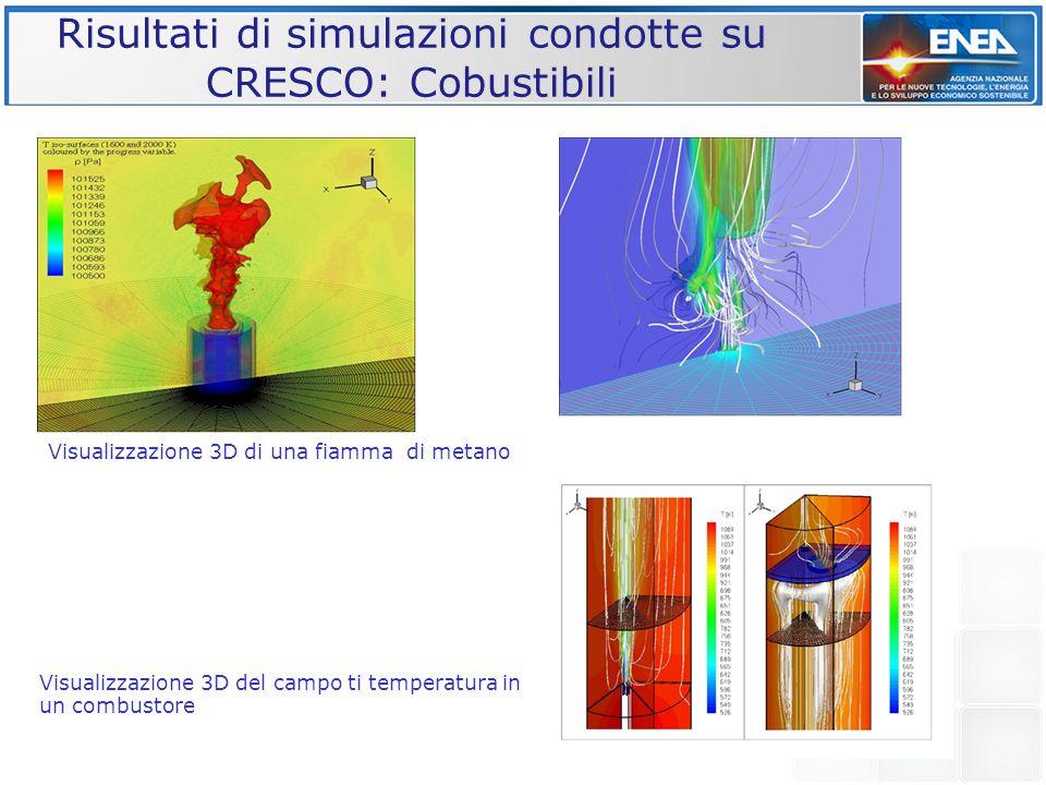Risultati di simulazioni condotte su CRESCO: Cobustibili Visualizzazione 3D di una fiamma di metano Visualizzazione 3D del campo ti temperatura in un