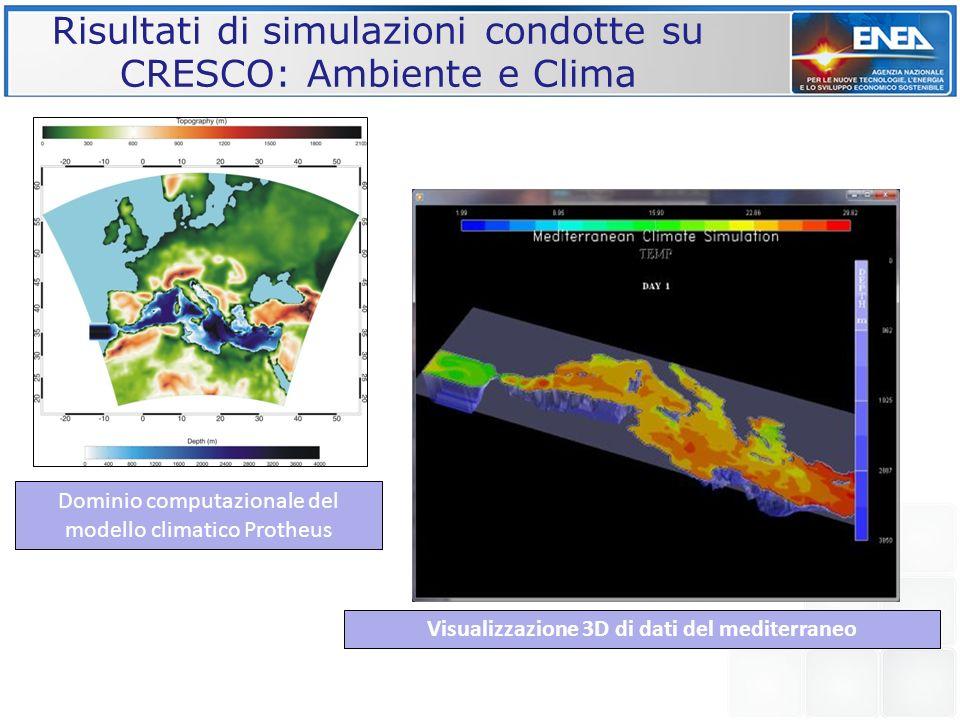 Risultati di simulazioni condotte su CRESCO: Ambiente e Clima Dominio computazionale del modello climatico Protheus Visualizzazione 3D di dati del med