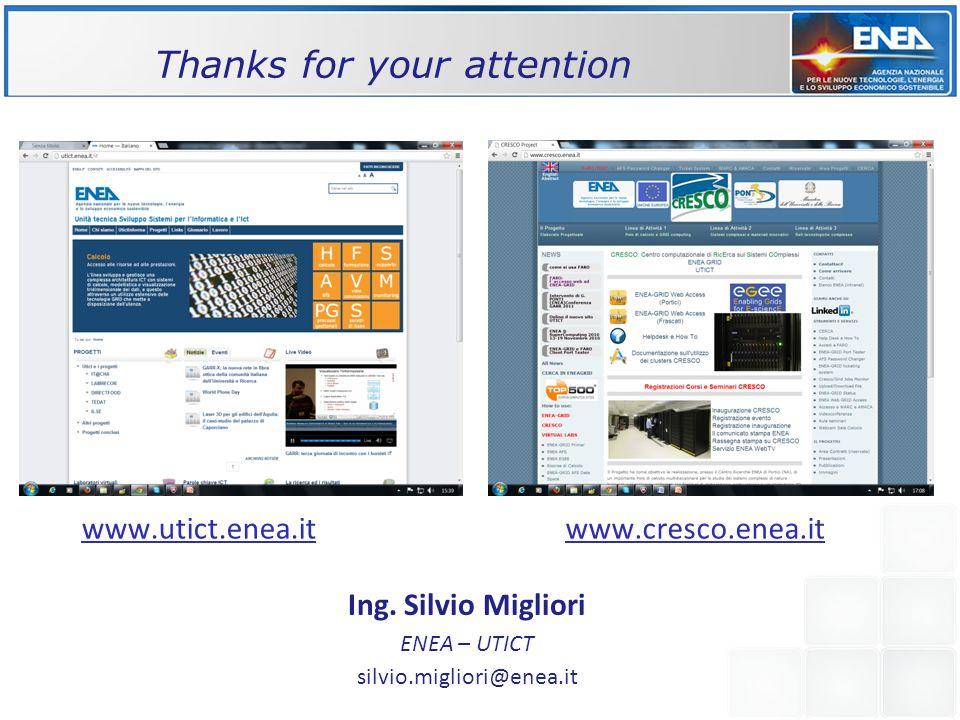 Thanks for your attention Ing. Silvio Migliori ENEA – UTICT silvio.migliori@enea.it www.utict.enea.itwww.cresco.enea.it /