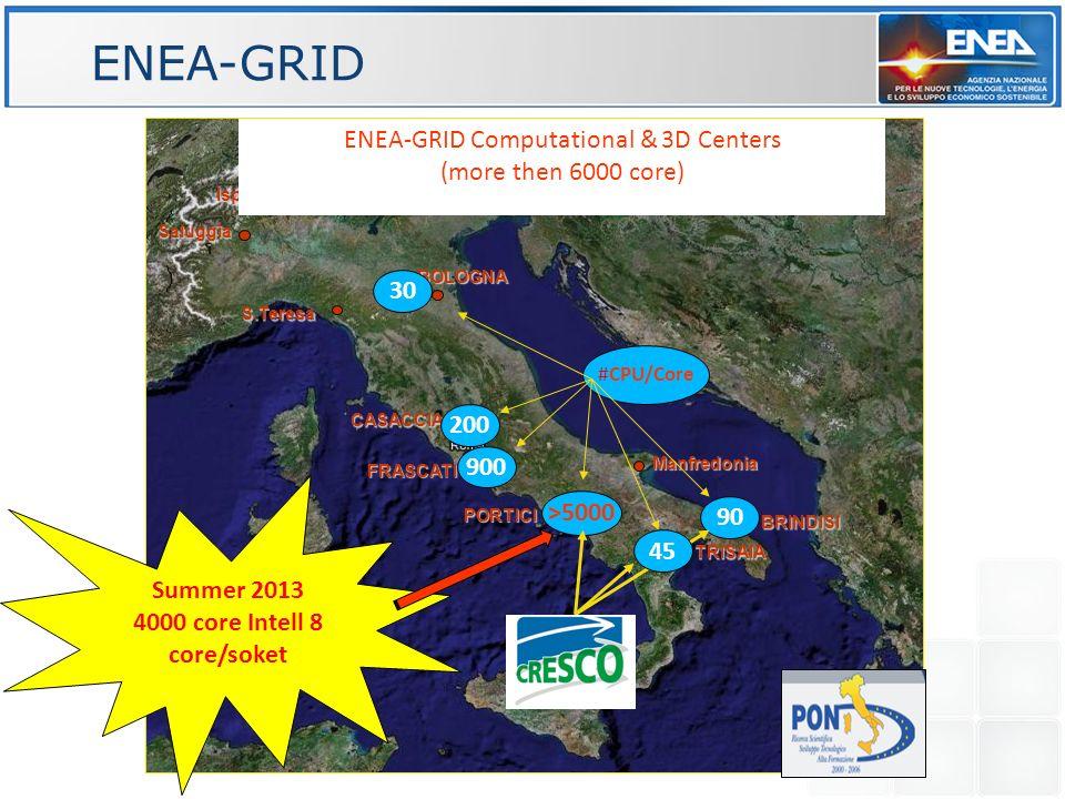 CASACCIA FRASCATI S.Teresa Saluggia Ispra BOLOGNA PORTICI TRISAIA BRINDISI Manfredonia ENEA-GRID Computational & 3D Centers (more then 6000 core) 90 >