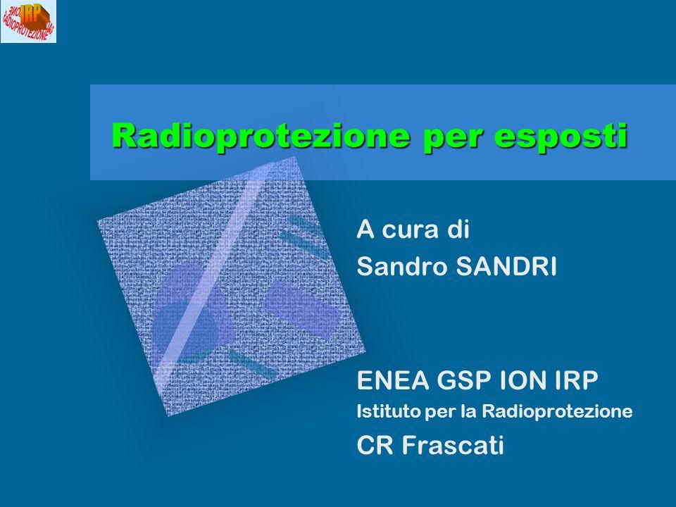 A cura di Sandro SANDRI2Sommario 1.SORGENTI DI RADIAZIONI IONIZZANTI 2.DOSIMETRIA DELLE RADIAZIONI 3.RADIOPROTEZIONE 4.COMPITI E RESPONSABILITA 5.CLASSIFICAZIONE DI LAVORATORI E AREE 6.AUTORIZZAZIONE DELLE PRATICHE 7.IMPIANTI A FRASCATI 8.PROBLEMATICHE DI RADIOPROTEZIONE