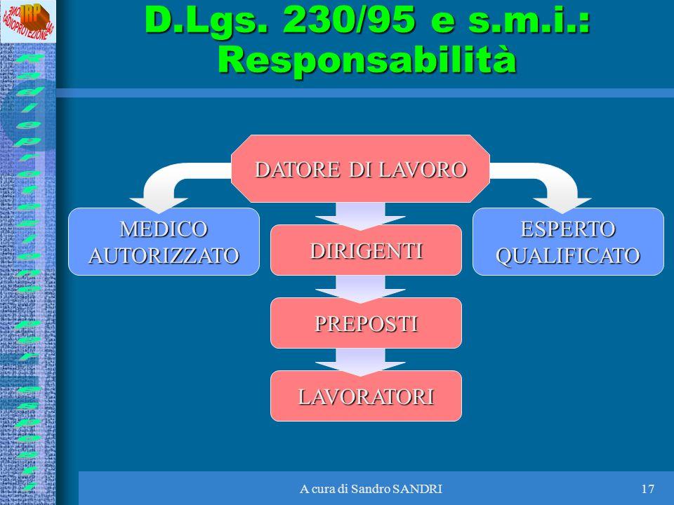 A cura di Sandro SANDRI17 D.Lgs. 230/95 e s.m.i.: Responsabilità DATORE DI LAVORO DIRIGENTI PREPOSTI LAVORATORI ESPERTOQUALIFICATOMEDICOAUTORIZZATO