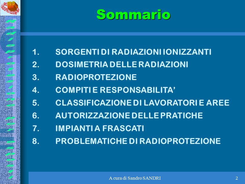 A cura di Sandro SANDRI2Sommario 1.SORGENTI DI RADIAZIONI IONIZZANTI 2.DOSIMETRIA DELLE RADIAZIONI 3.RADIOPROTEZIONE 4.COMPITI E RESPONSABILITA 5.CLAS