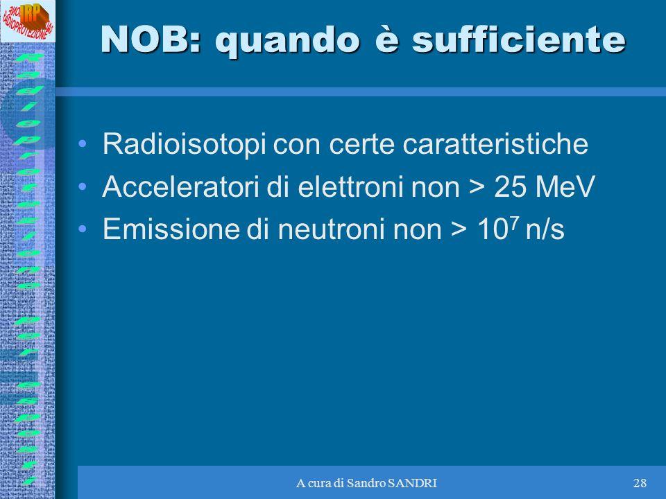A cura di Sandro SANDRI28 NOB: quando è sufficiente Radioisotopi con certe caratteristiche Acceleratori di elettroni non > 25 MeV Emissione di neutron