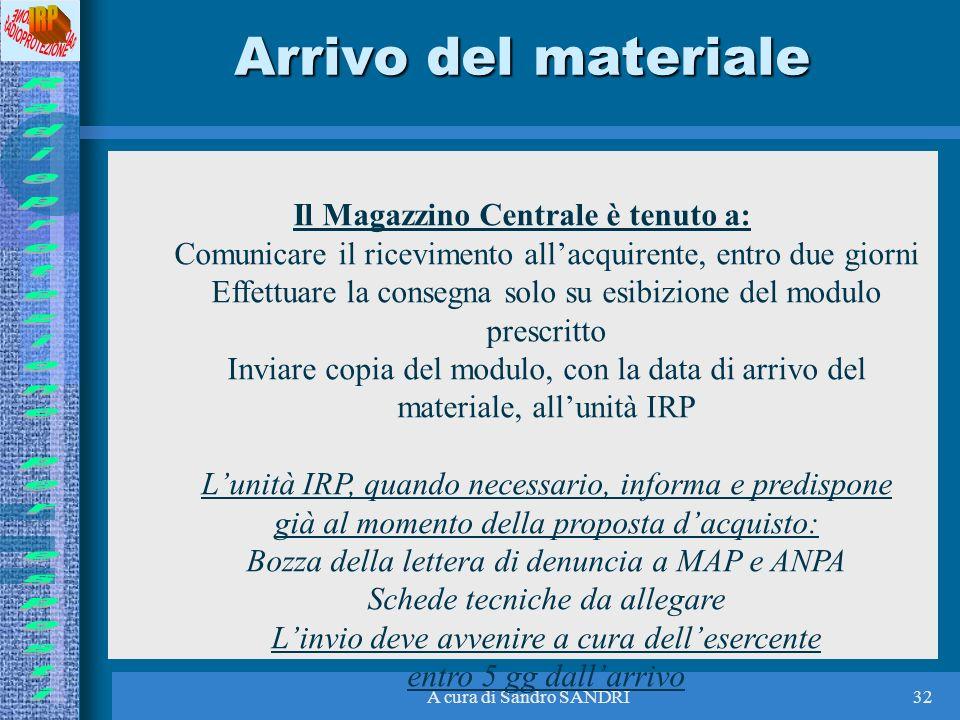 A cura di Sandro SANDRI32 Arrivo del materiale Il Magazzino Centrale è tenuto a: Comunicare il ricevimento allacquirente, entro due giorni Effettuare