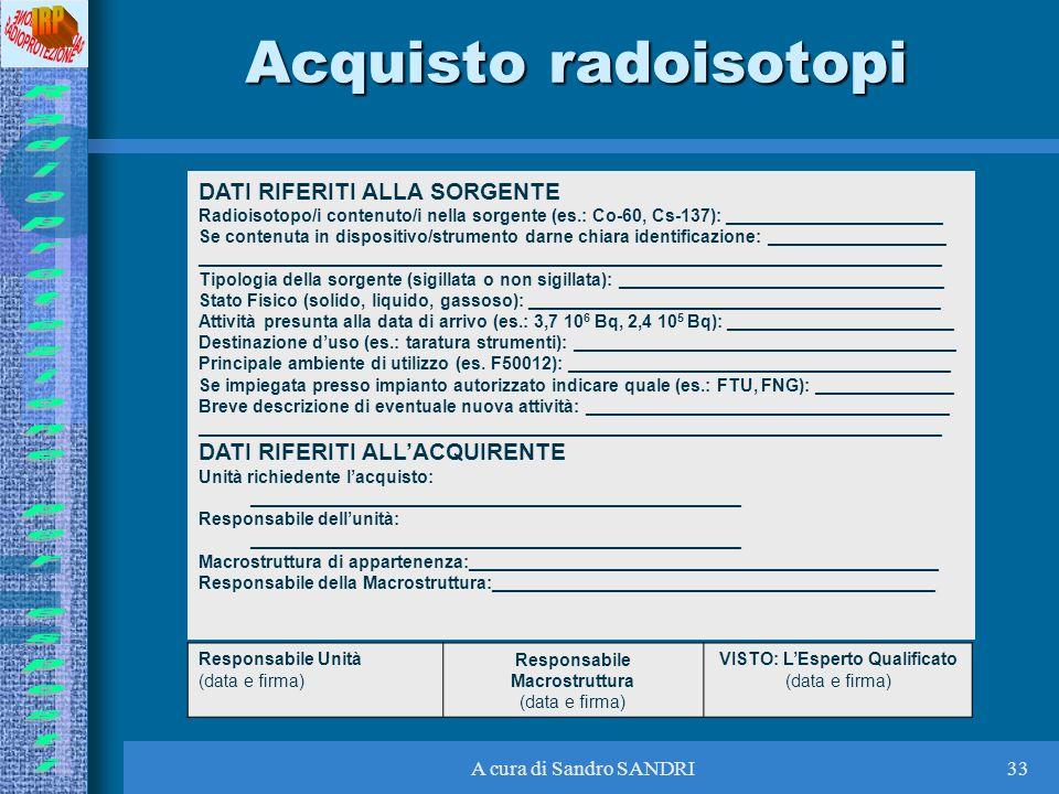 A cura di Sandro SANDRI33 Acquisto radoisotopi DATI RIFERITI ALLA SORGENTE Radioisotopo/i contenuto/i nella sorgente (es.: Co-60, Cs-137): ___________