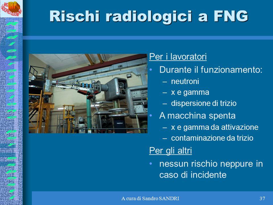 A cura di Sandro SANDRI37 Rischi radiologici a FNG Per i lavoratori Durante il funzionamento: –neutroni –x e gamma –dispersione di trizio A macchina s