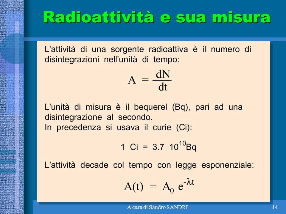 A cura di Sandro SANDRI14 Radioattività e sua misura