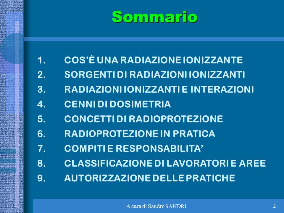 A cura di Sandro SANDRI2Sommario 1.COSÈ UNA RADIAZIONE IONIZZANTE 2.SORGENTI DI RADIAZIONI IONIZZANTI 3.RADIAZIONI IONIZZANTI E INTERAZIONI 4.CENNI DI