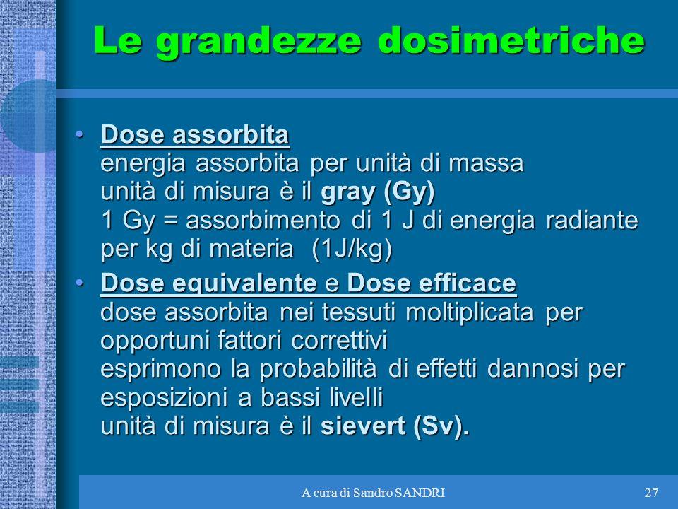 A cura di Sandro SANDRI27 Dose assorbita energia assorbita per unità di massa unità di misura è il gray (Gy) 1 Gy = assorbimento di 1 J di energia rad