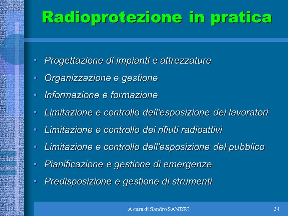 A cura di Sandro SANDRI34 Radioprotezione in pratica Progettazione di impianti e attrezzatureProgettazione di impianti e attrezzature Organizzazione e