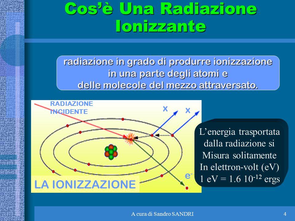 A cura di Sandro SANDRI4 radiazione in grado di produrre ionizzazione in una parte degli atomi e delle molecole del mezzo attraversato. Cosè Una Radia