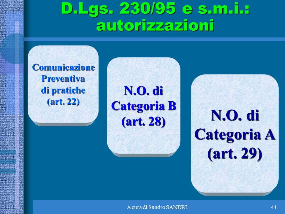 A cura di Sandro SANDRI41 ComunicazionePreventiva di pratiche (art. 22) N.O. di Categoria B (art. 28) N.O. di Categoria A (art. 29) D.Lgs. 230/95 e s.