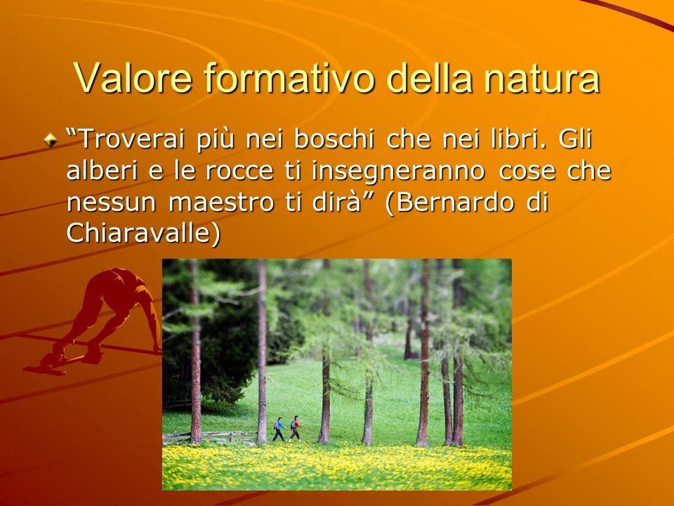 Valore formativo della natura Troverai più nei boschi che nei libri. Gli alberi e le rocce ti insegneranno cose che nessun maestro ti dirà (Bernardo d