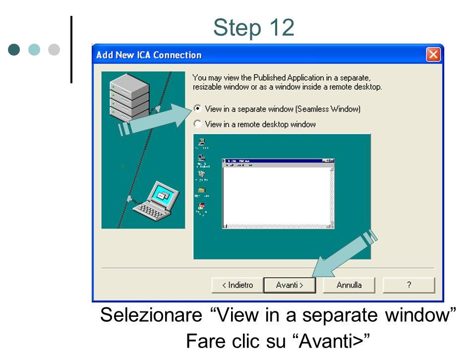 Selezionare View in a separate window Fare clic su Avanti> Step 12
