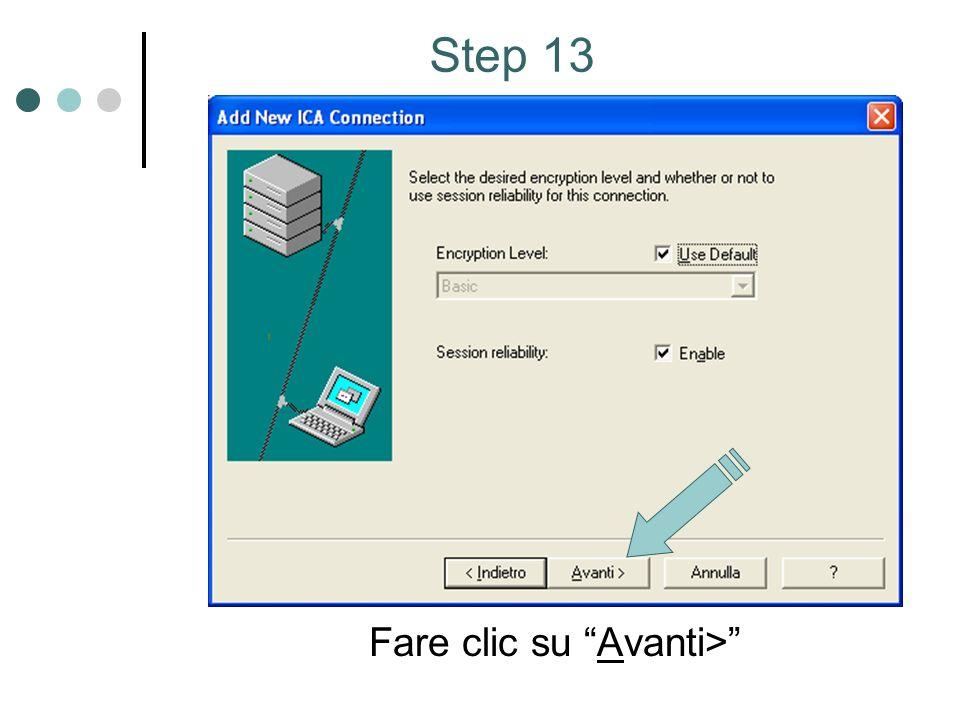 Fare clic su Avanti> Step 13