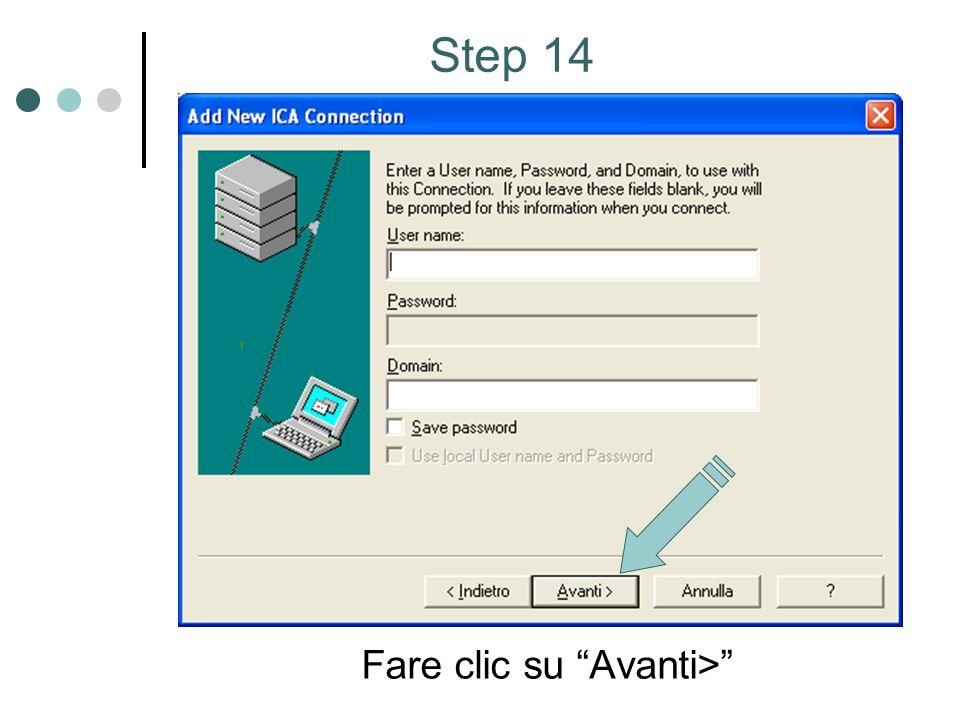 Fare clic su Avanti> Step 14