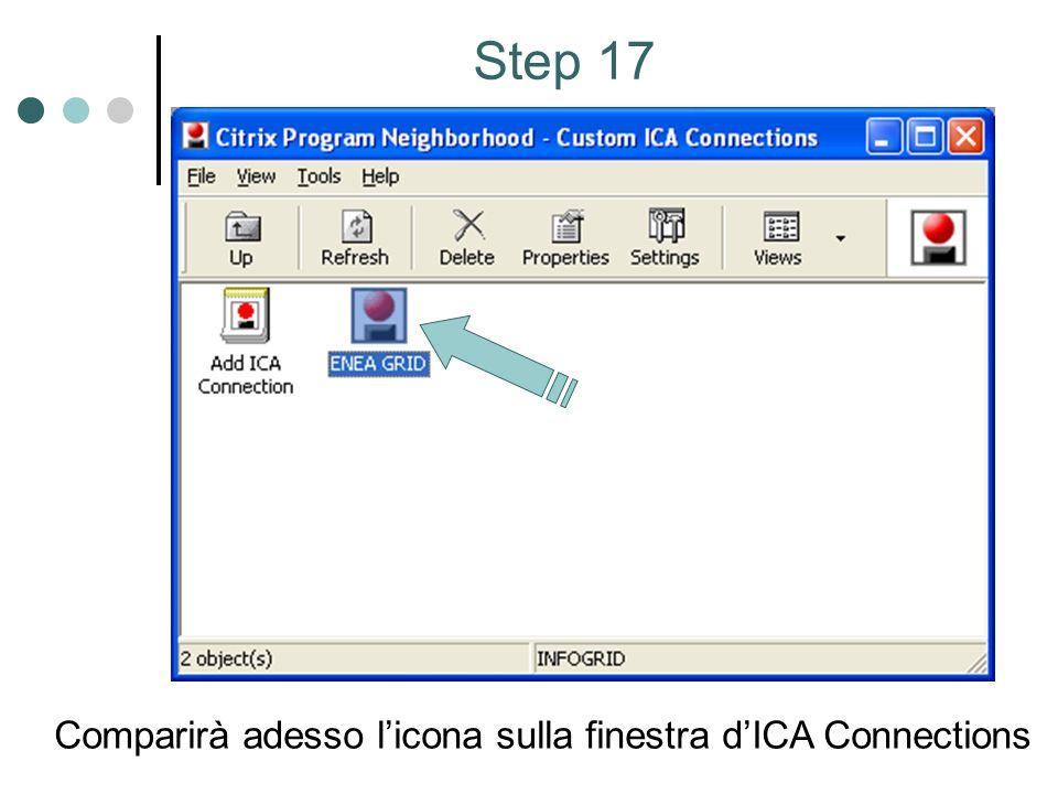 Step 17 Comparirà adesso licona sulla finestra dICA Connections