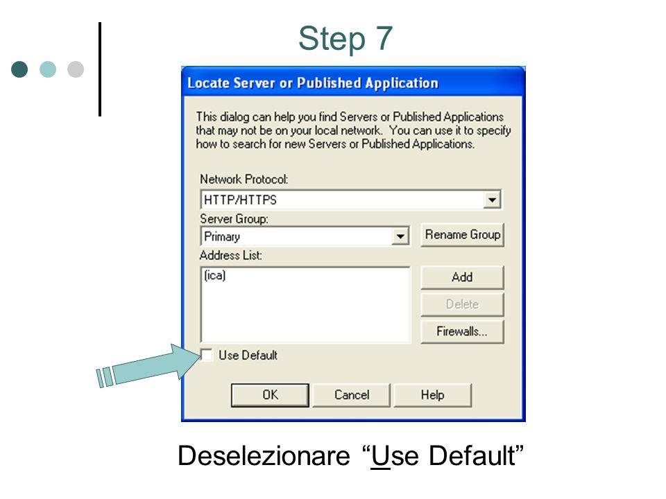 Step 8 Selezionare TCP/IP come Network Protocol