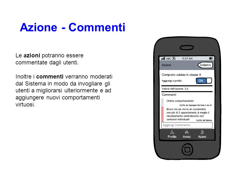 Azione - Commenti Le azioni potranno essere commentate dagli utenti. Inoltre i commenti verranno moderati dal Sistema in modo da invogliare gli utenti