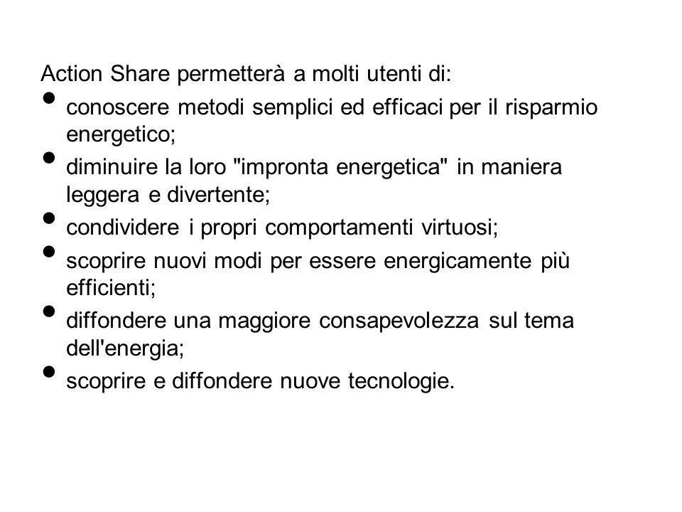 Action Share permetterà a molti utenti di: conoscere metodi semplici ed efficaci per il risparmio energetico; diminuire la loro