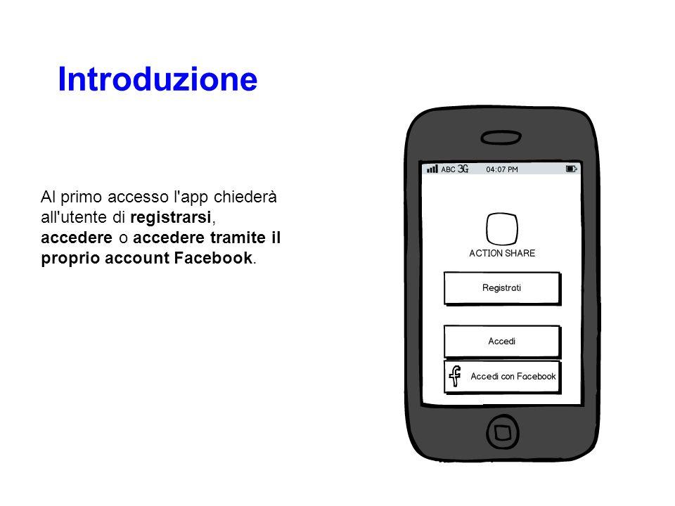 Introduzione Al primo accesso l'app chiederà all'utente di registrarsi, accedere o accedere tramite il proprio account Facebook.