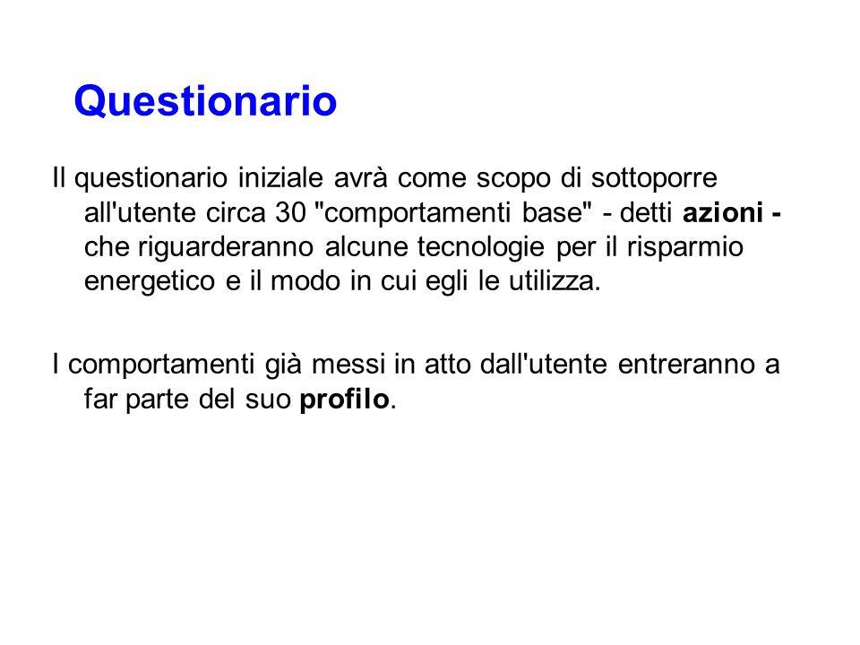 Questionario Il questionario iniziale avrà come scopo di sottoporre all'utente circa 30