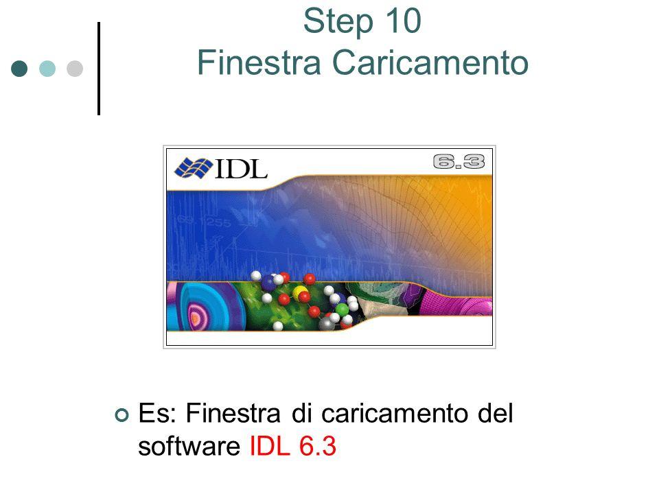 Step 10 Finestra Caricamento Es: Finestra di caricamento del software IDL 6.3