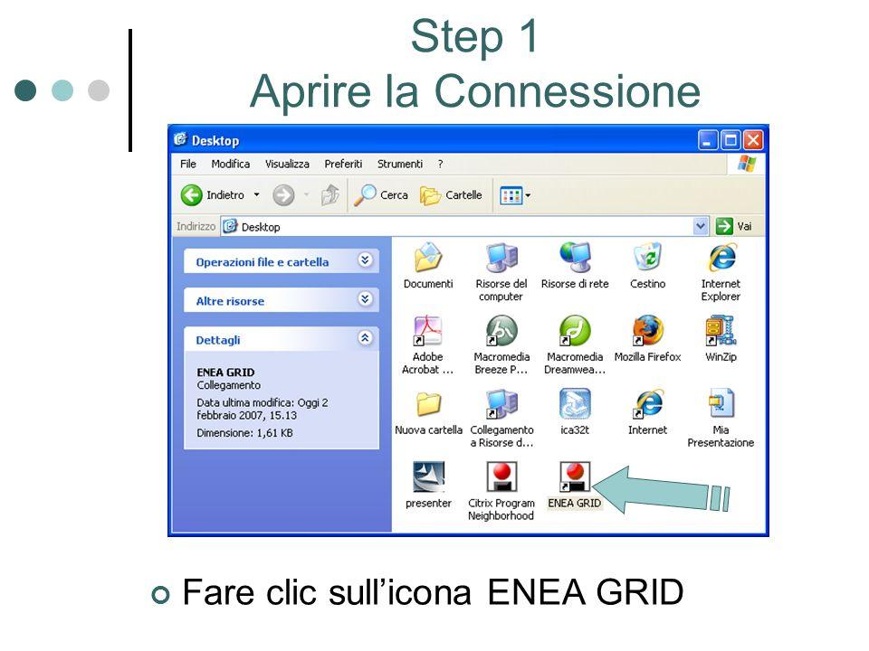 Step 1 Aprire la Connessione Fare clic sullicona ENEA GRID